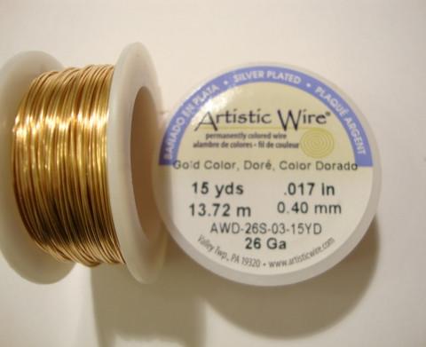 Beadalon Artistic Wire -metallilanka kullattu 26 Gauge = 0,4 mm (13,7 m kela)