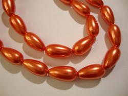 Helmiäislasihelmi oranssi pisara 17 x 8 mm (10/pss)