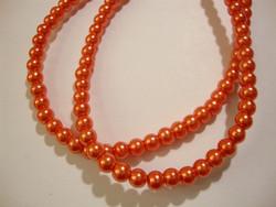 Helmiäislasihelmi oranssi pyöreä 4 mm (n.108 kpl/ nauha)