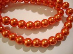 Helmiäislasihelmi oranssi pyöreä 8 mm (n. 54 kpl/nauha)