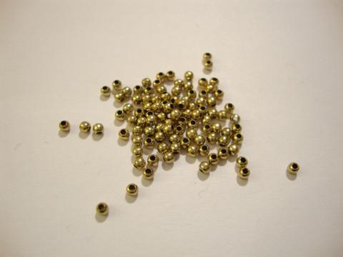 Metallihelmi kullattu sileä pyöreä 2 mm (100 kpl/pss)