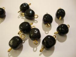 Vintage helmi musta lasi 10 x 9 mm + kiinnityslenkit, kok. pituus n. 15 mm