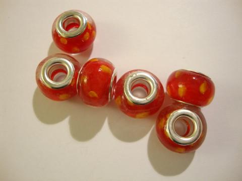 Pandora style -helmi punainen / keltainen 9 x 14 mm