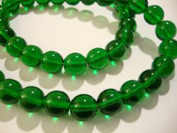 Tsekkiläinen lasihelmi smaragdin vihreä pyöreä 8 mm (20 kpl/pss)