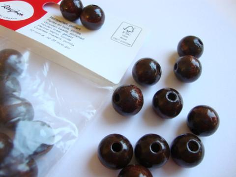 Rayher puuhelmi tummanruskea pyöreä 10 mm (52 kpl/pss)