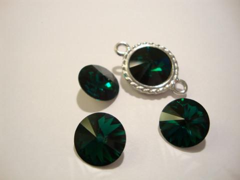 Swarovski kristalli rivoli smaragdinvihreä pyöreä 12 mm
