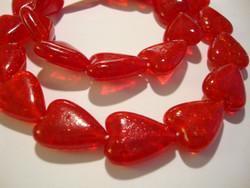 Särölasihelmi punainen sydän 18 x 13 mm (5/pss)