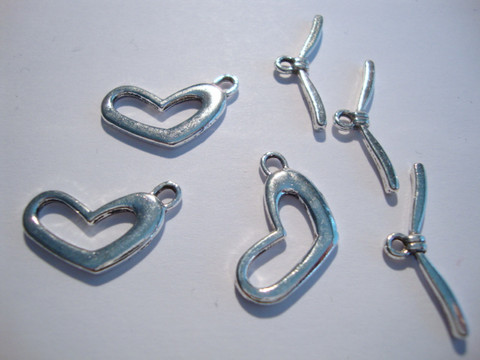 Salpalukko Sydän hopeoitu 19 x 12 mm (10 kpl/pss)