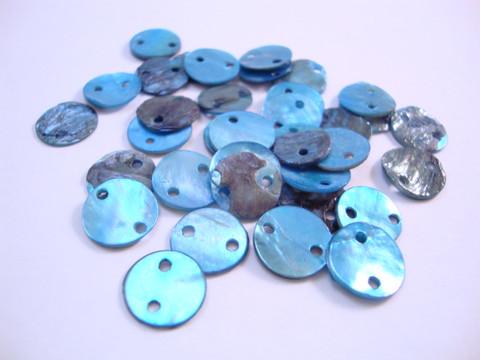 Simpukkahelmi/-linkki sininen pyöreä litteä 10 mm, 2 reikäinen (10/pss)