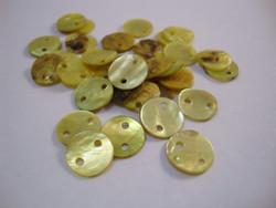 Simpukkahelmi/-linkki limen vihreä pyöreä litteä 10 mm, 2 reikäinen (10/pss)