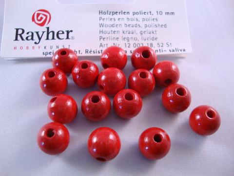 Rayher Puuhelmi kirkas punainen pyöreä 10 mm (52 kpl/pss)