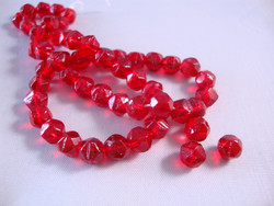 Vintage helmi rubiinin punainen fasetoitu lasi 5 mm (2 kpl/pss)
