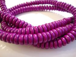 Puuhelmi tumma lila / violetti rondelli  8 mm (n. 105 kpl/nauha)