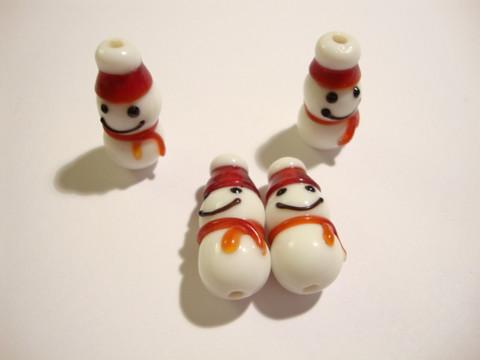 Lamppuhelmi valkoinen-punainen Lumiukko 23 x 11 mm