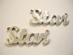 Korulinkki / riipus Star hopeanvärinen 15 x 35 mm