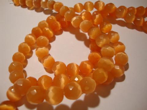 Kissansilmälasihelmi oranssi särmikäs pyöreä 8 mm (10 kpl/pss)