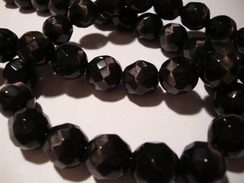 Kissansilmälasihelmi musta särmikäs pyöreä 12 mm (10 kpl/pss)
