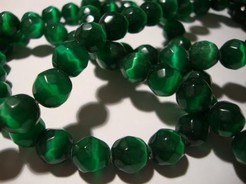 Kissansilmälasihelmi smaragdin vihreä särmikäs pyöreä 10 mm (10 kpl/pss)