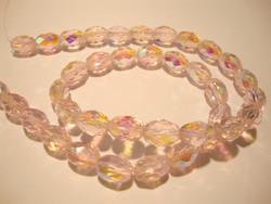 Tsekkiläinen fasettihiottu lasihelmi vaaleanpunainen AB 11 x 8 mm ovaali (10 kpl/pss)