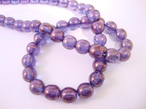 Tsekkiläinen lasihelmi violetti (lila) hohtava pinta pyöreä 8 mm (20/pss)