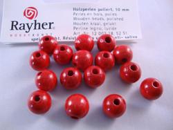 Rayher Puuhelmi kirkas punainen pyöreä 8 mm (82 kpl/pss)