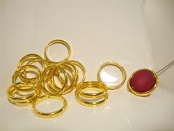 Metallihelmi/helmikehys (helmihäkki) kullattu pyöreä 18 mm (2 kpl/pss )