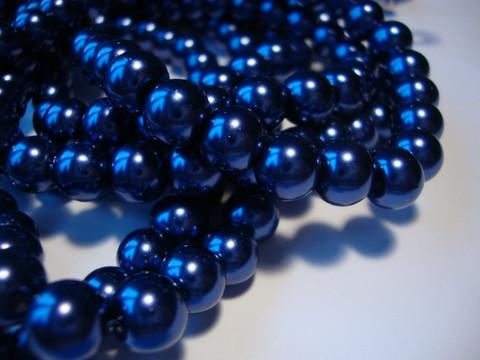 Helmiäislasihelmi tumman sininen pyöreä 8 mm (50 kpl/pss)