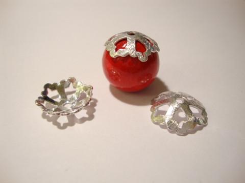 Helmihattu hopeoitu hohtava 14 mm (4 kpl/pss)