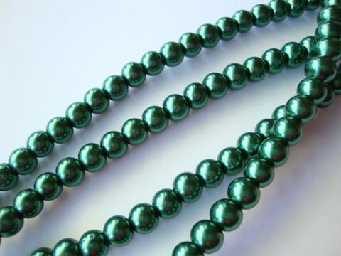 Helmiäislasihelmi tumman vihreä 4 mm (n. 110 kpl/nauha)