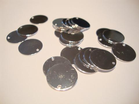 Riipus/nimilaatta hopeoitu pyöreä 12 mm, perusmetalli messinki (20 kpl/pss)