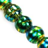 Lasihelmi pintavärjätty smaragdinvihreä-kulta pyöreä 8 mm (20 kpl/pss)
