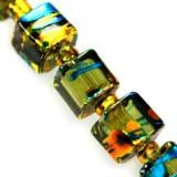 Lasihelmi pintavärjätty smaragdinvihreä-kulta kuutio 6 mm (20 kpl/pss)