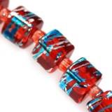 Lasihelmi pintavärjätty punainen-turkoosi kuutio 6 mm (20 kpl/pss)