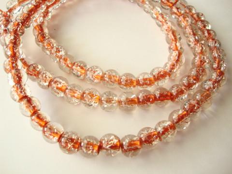 Särölasihelmi kirkas/oranssi pyöreä 8 mm (20 kpl/pss)