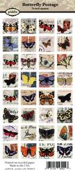 Kuva-arkki (collage sheet) Butterfly Postage, yksittäisten kuvien koko 22 mm (32 kuvaa/arkki)