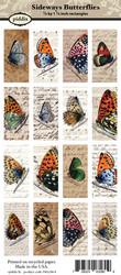 Kuva-arkki (collage sheet) Sideways Butterflies, yksittäisten kuvien koko 47 x 21 mm (16 kuvaa/arkki)