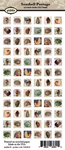 Kuva-arkki (collage sheet) Seashell Postage, yksittäisten kuvien koko 12,7 mm (72 kuvaa/arkki)