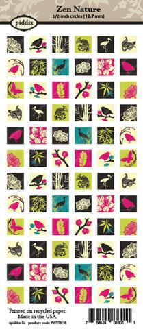 Kuva-arkki (collage sheet) Zen Nature, yksittäisten kuvien koko 12,7 mm (72 kuvaa/arkki)