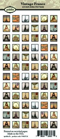Kuva-arkki (collage sheet) Vintage France, yksittäisten kuvien koko 12,7 mm (72 kuvaa/arkki)