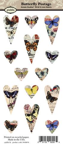 Kuva-arkki (collage sheet) Butterfly Postage, yksittäisten kuvien koko 24 ja 51 mm (14 kuvaa/arkki