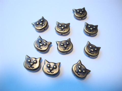 TierraCast metallihelmi Kissanpää pronssi 8,5 x 10 mm (2 kpl/pss)