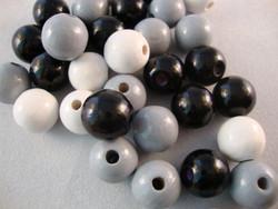Rayher Puuhelmimix (puuhelmisekoitus) musta-harmaa-valkoinen 4 mm (150  kpl/pss)
