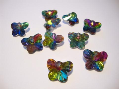 Perhosriipus sateenkaarivärit lasi 15 x 10 mm (2 kpl/pss)