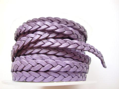 Nahkanauha punottu litteä lila/violetti 5,5 mm (m-erä 1 m)