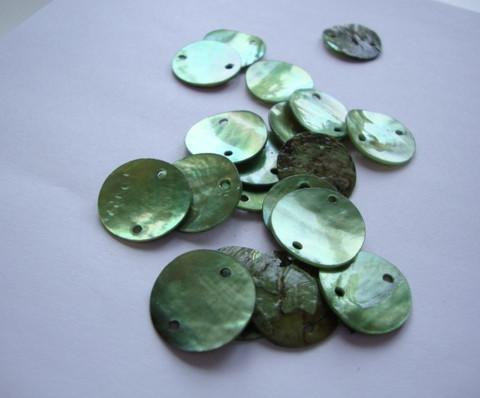 Simpukkahelmi/-linkki vihreä pyöreä litteä 10 mm, 2 reikäinen (10/pss)