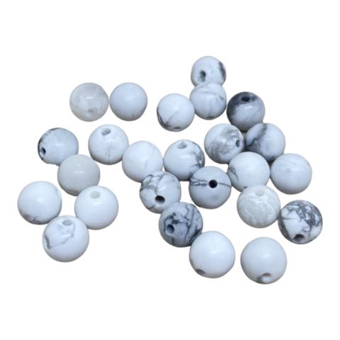 Kivihelmi Howliitti valkoinen / harmaa pyöreä matta 6 mm (20 kpl/pss)