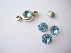 Swarovski kristalli rivoli vedensininen (Aquamarine) pyöreä 8 m SS39 (2 kpl/pss)