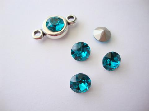 Swarovski kristalli rivoli petroolinvärinen pyöreä 8 m SS39 (2 kpl/pss)