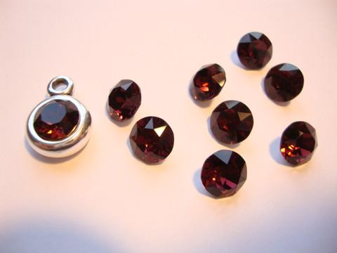 Swarovski kristalli rivoli tumma punainen (Burgundy) pyöreä 8 m SS39 (2 kpl/pss)