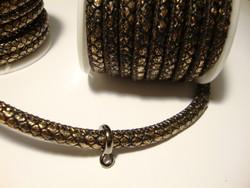 Nahkanauha (jäljitelmä) 6 x 4 mm musta/metalliruusukulta  (m-erä 50 cm)